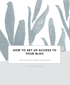 How to Set up Access to your Blog (but not give your username and password)