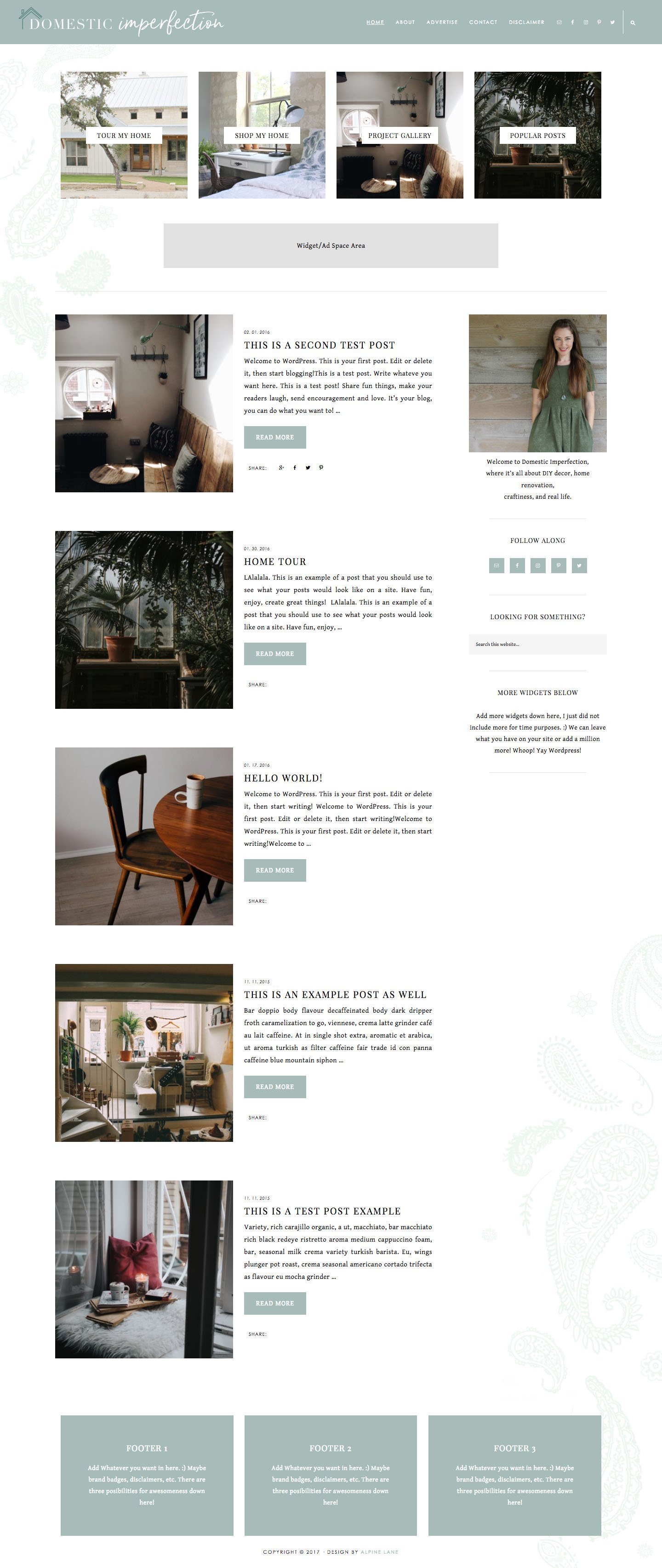 Domestic Imperfection custom blog design by Alpine Lane Creative Studio